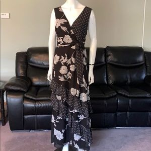 I.N.C Maxi Dress Black ruffles floral chiffon 12